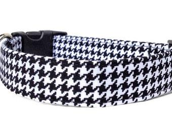 Houndstooth Dog Collar / Black & White Houndstooth Dog Collar / Black and White Dog Collar / Adjustable Dog Collar / Pet Collar