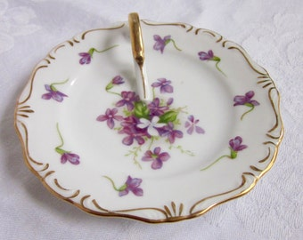 Violets, Purple, Flowers, Lemon Dish, Cottage Chic, Occupied Japan, Hand Painted