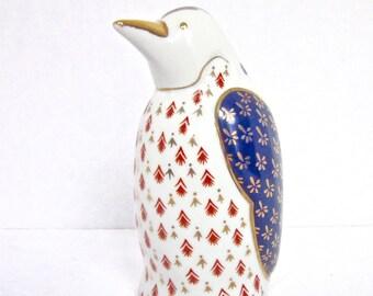 Penguin Mid Century Figurine Collectible Bird Blue White Gold Hand Painted Details Vintage Porcelain