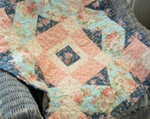 Baby Quilt, Cottage Roses Little French Baby