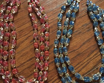 Set of 2 Vintage Beaded Necklaces Pink Blue Gold