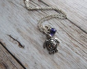 Sea Turtle Necklace -Turtle Charm with an accent bead in your choice of colors