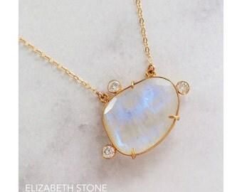 Moonstone Pendant- Moonstone with CZ necklace, delicate necklace, gold filled necklace