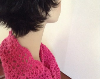 Crochet cowl scarf,Hot Pink,circle scarf,Infinity Scarf,Women's scarf, gifts for her