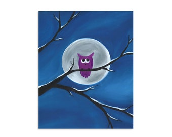 Moon Owl - Purple Owl in Front of a Bright Full Moon