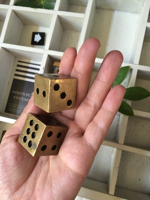 large vintage solid brass pair of dice / gift for gambler / paperweight