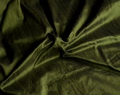 Dark Olive Green with black shimmer, Pure Indian Silk Dupioni,  fat quarter- D 234