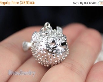 SALE Sterling Silver Puffer Fish Pendant Necklace