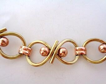 Vintage Signed Kreisler Rose and Yellow Gold Filled Link Bracelet