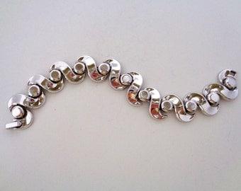 Crown Trifari Pat Pend Silver Link Bracelet Signed