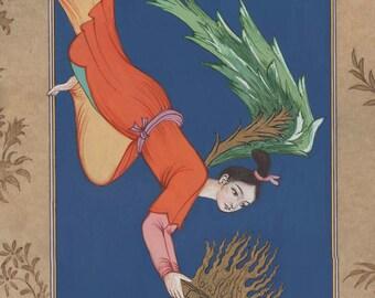 ORIGINAL Persian Painting/Oriental miniature/ Saadi's Gift