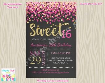 Sweet 16 Invitation pink and gold sweet 16 birthday invitation sweet sixteen birthday party confetti pink gold - digital DIY printable