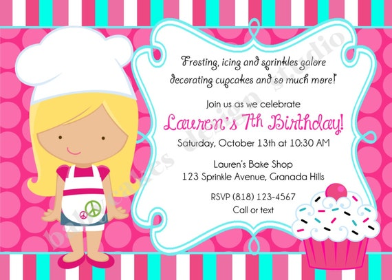 Chef Baking birthday Party Invitation, invite, chef cupcake decorating baking party, cooking, cupcake party, DIY Printable, Choose Your GIRL