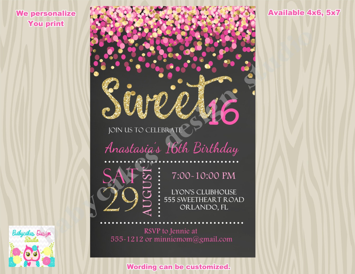 It is an image of Lively Sweet 16 Birthday Invitations Free Printable