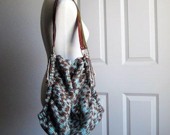 Brown & Mint Blue Shoulder Bag