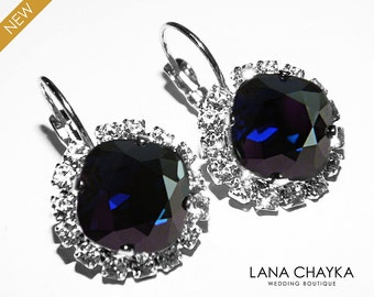 Dark Navy Blue Crystal Halo Earrings Swarovski Dark Indigo Rhinestone Leverback Sparkly Earrings Deep Blue Crystal Wedding Blue Jewelry