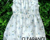 Girls Size 7 White Dress Sleeveless with Shoulder Ties Retro 1950's Print Fabric CLEARANCE- Girls Summer Dress Size 7- Cotton Dress