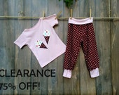 75 Percent Off, Was 28 Dollars Girls Size 3 Pink T-Shirt Fun Ice Cream Cone Applique and Harem Knit Pants - Knit T-Shirt and Matching Pants