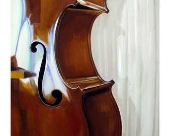 Double Bass, Back-lighting, warm Brown, Music, Original illustration Artist Print Wall Art, Free Shipping in USA.
