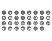 Number Charms Pendants Antiqued Silver 1 to 31 Number Tokens Coins 31 pieces