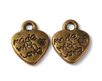 Made With Love Charms-Jewelry Tags-Word Charms-Antiqued Bronze-50pcs