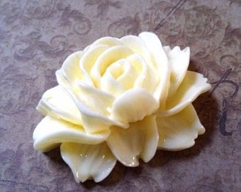Large Lotus Flower Cabochon Ivory Off White 45mm Thick Flower Cabochon Lotus Embellishment 4 pieces
