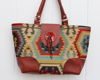 Textile and Leather Tote