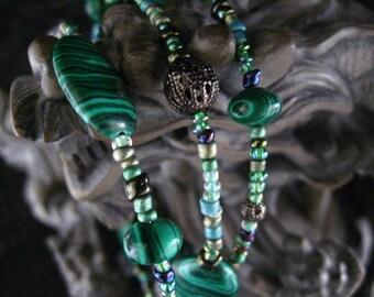 Beaded Memory Wire Bracelet Multi Strand Malachite and Antique Silver Wrapped Bracelet