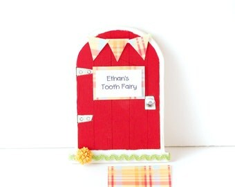 Tooth Fairy Door Tooth Fairy Gift Personalized Tooth Fairy Garden Door Tooth Fairy Gift in Cherry Red