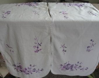 Vintage Stitched Doily Runner Set, Purple Flower Dresser