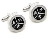 Triathlon Cufflinks - Sports Fashion Accessories - With Gift Box