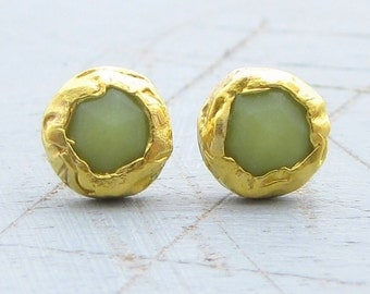 Gold Serpentine Post Earrings - 24k Solid Gold Serpentine Earrings - Studs Gold Serpentine Earrings