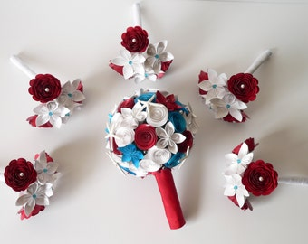 Wedding Bouquet Set, 1 Round Bridal Bouquet, 5 Medium Bridesmaids' Bouquets, Red White Blue Nautical Wedding