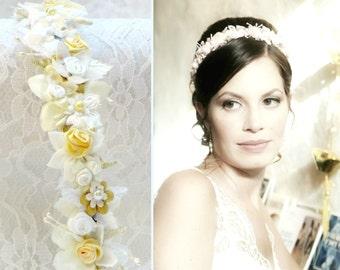 Ivory flower wedding headband ivory and glod flower bridal crown bohemian wedding hair accessories for boho bride flower tiara bridal wreath