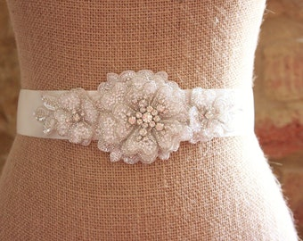 Rhinestone and bead floral bridal sash, rhinestone sash, beaded sash, wedding sash, wedding belt, floral sash, bridal belt - **Elora**