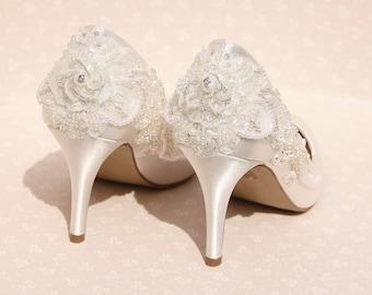 Ivory bridal shoe, beaded bridal shoe, vintage bridal shoes size uk 5/38