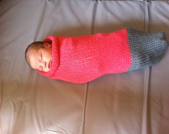 Toe-Dipped Baby Cocoon/Sleep Sack Coral/Gray