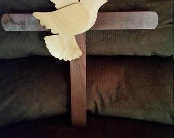 Handmade walnut wooden cross.