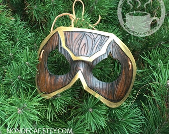 Woodgrain Warrior Handmade Leather Costume Mask