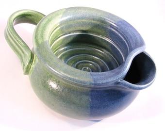 Shaving Scuttle Mug Cup Bowl For Comfort Hot Wet Shave - Handmade Pottery Glazed Denim Jeans Dark Cobalt Blue & Bright Green
