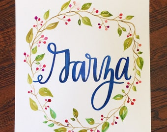 YOUR LAST NAME Personalized Watercolor Art Handpainted 11x14