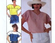 Simplicity Jiffy 8686 Vintage 80s Sewing Pattern for Misses' Pullover Cropped Tops - Uncut - Size Petite 6-8