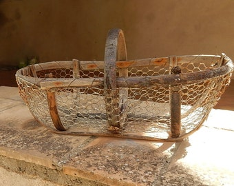 French Antique Oyster Basket  Rustic and Handmade
