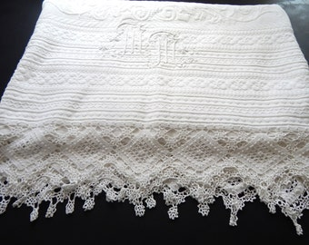French Vintage Pique Coverlet with Fine Hand Crocheted Lace Large Size