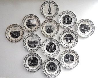 LOURDES Theme Antique French Plates RARE Set of 12  Plates c. 1875-1900