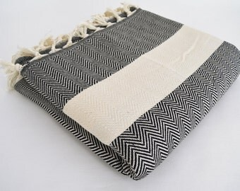 SALE 30 OFF/ Herringbone Blanket / Black / Double Size / Bedcover, Beach blanket, Sofa throw, Traditional, Tablecloth
