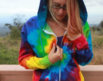 Tie Dye Zip Hoodie Classic Spiral   Unisex Sizes