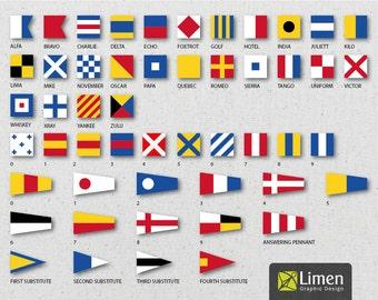 Digital Nautical Flags, Nautical Flag Banner, Instant Download, Signal Flags, Nautical Decor, Nautical Birthday, Nautical Printable