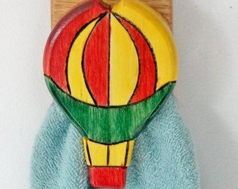 Hot Air Balloon  Amish style towel hanger towel rack towel hook Wall hanging  Quilt hanger display Ships FREE all USA locations