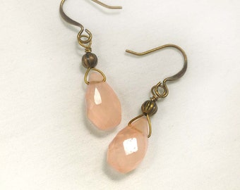 Faceted Rose Quartz Gemstone Briolettes Wire Wrapped in Antiqued Brass Gold, Dangle Earrings